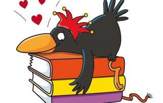 Antolin-Rabe liegt verliebt auf einem Bücherstapel